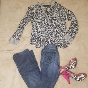 Black and White animal print blouse